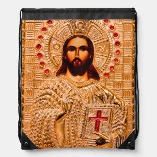 Jesus christ golden icon drawstring bags