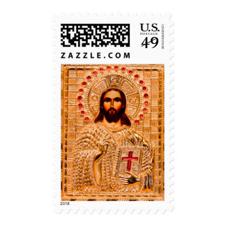 Jesus christ golden icon postage