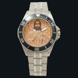 """Jesus christ golden icon wrist watch<br><div class=""""desc"""">Jesus Christ in gold metal decorated with red stones. Holding a book with red cross. Close up Photography.</div>"""