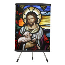 Jesus Christ Good Shepherd Stained Glass Tripod Lamp