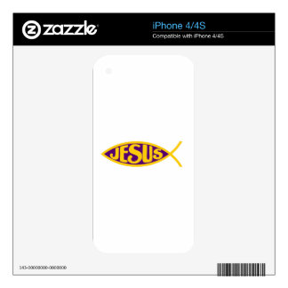 JESUS CHRIST ICHTHYS FISH SALVATION PURPLE GOLD SKINS FOR iPhone 4S