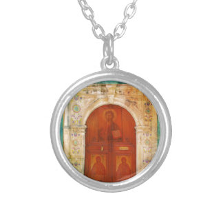 Jesus Christ Icon Door Greek Orthodox Silver Plated Necklace