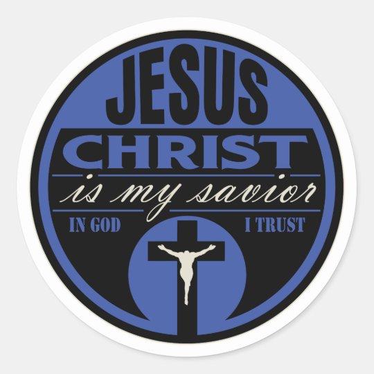 Jesus Christ is My Savior(Blue) Classic Round Sticker
