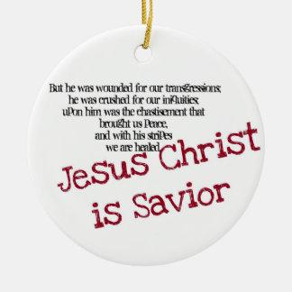 Jesus Christ is Savior Ceramic Ornament