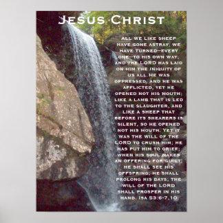Jesus Christ - Isa 53 6-7 10 Poster