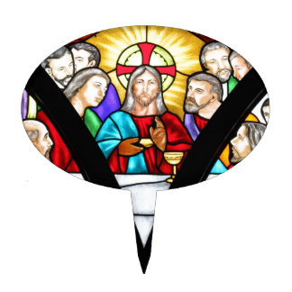 Jesus Christ Last Supper Stained Glass Window Cake Topper