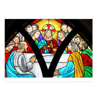 Jesus Christ Last Supper Stained Glass Window Post Cards