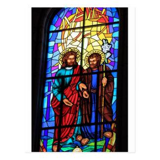 Jesus Christ my shepherd stained glass window Postcard