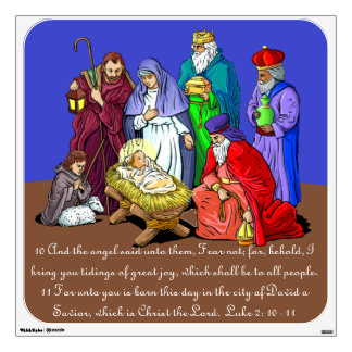 Jesus Christ Nativity and Bible Verse Wall Cling Wall Skin