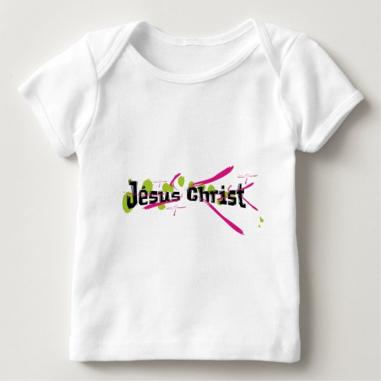 Jésus Christ Noir sur taches vertes traits roses Baby T-Shirt
