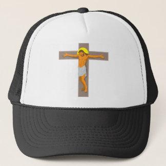 jesus christ on cross retro trucker hat