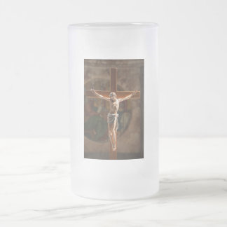 Jesus Christ on the Cross Frosted Glass Beer Mug