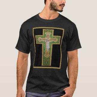Jesus Christ on the Cross. Green Silk Religous Art T-Shirt