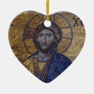 Jesus Christ Double-Sided Heart Ceramic Christmas Ornament