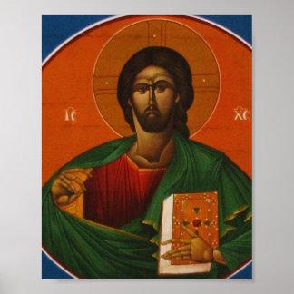 Jesus Christ Orthodox Christian Icon painting Poster