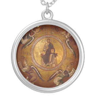 Jesus Christ Pantakrator Christian Orthodox Icon Silver Plated Necklace