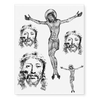 Jesus Christ, Portrait, Cross, Temporary Tattoos