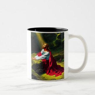 Jesus Christ Praying in the Garden of Gethsemane Two-Tone Coffee Mug