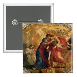 Jesus Christ Receiving the Virgin in Heaven 2 Inch Square Button