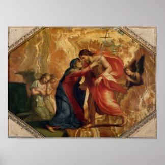 Jesus Christ Receiving the Virgin in Heaven Poster