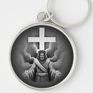 Jesus Christ Resurrection Cross Design Silver-Colored Round Keychain