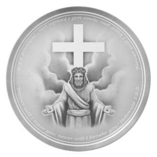 Jesus Christ Resurrection Cross Design Party Plates