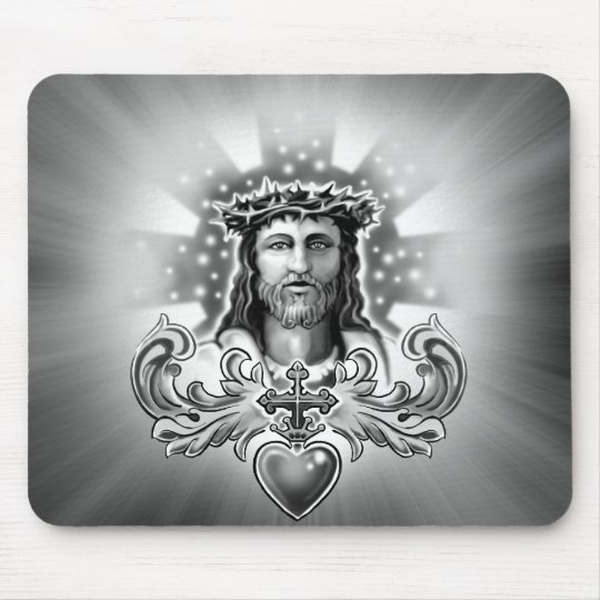 Jesus Christ Sacred Heart Design Mouse Pad
