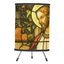 Jesus Christ Stained Glass Window Tripod Lamp
