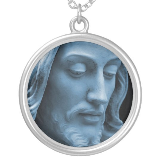 JESUS CHRIST STATUE SILVER PLATED NECKLACE