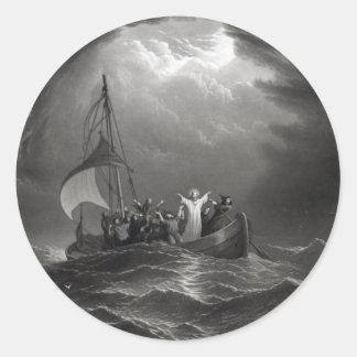 Jesus Christ Stills the Tempest Classic Round Sticker