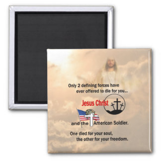 Jesus Christ & the American Soldier 2 Inch Square Magnet