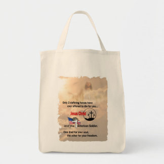 Jesus Christ & the American Soldier Tote Bags