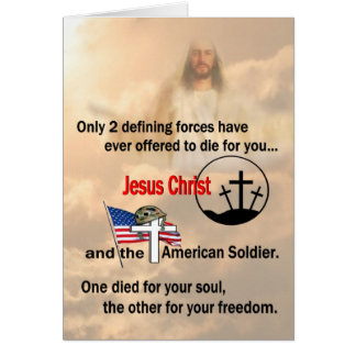 Jesus Christ & the American Soldier Greeting Card