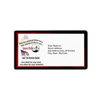 Jesus Christ & the American Soldier Custom Address Address Label