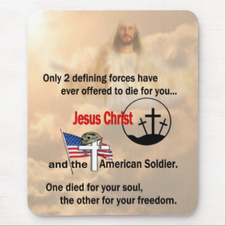 Jesus Christ & the American Soldier Mouse Pad