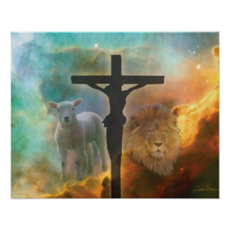 Jesus Christ, the Lion and the Lamb Poster