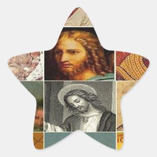 Jesus christ,vintage collage,antique,victorian star sticker