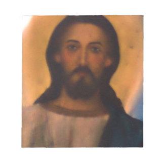 Jesus Christ Vintage Hand Painted Orthodox Icon Scratch Pad