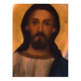 Jesus Christ Vintage Hand Painted Orthodox Icon Postcard