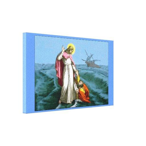 Jesus Christ Walking on Water Canvas Print