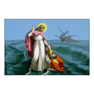Jesus Christ Walks on Water Poster