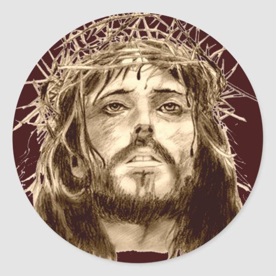 Jesus Christ with a Crown of Thorns Classic Round Sticker