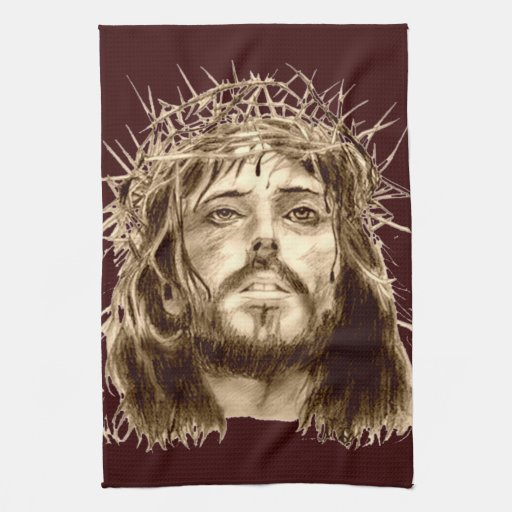 Jesus Christ with a Crown of Thorns Kitchen Towels