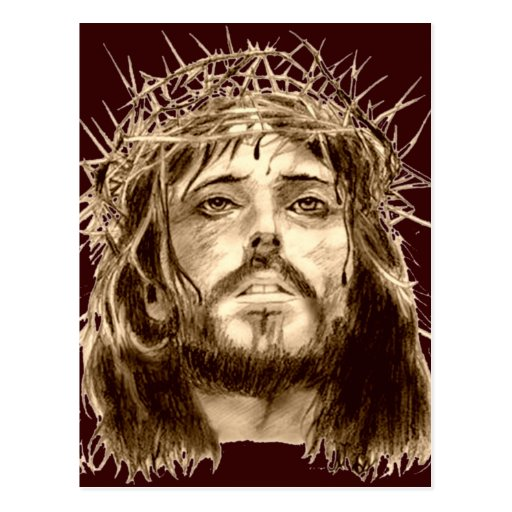 Jesus Christ with a Crown of Thorns Postcard