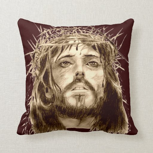 Jesus Christ with a Crown of Thorns Throw Pillow