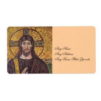 Jesus Christ with Holy Spirit Flame Mosaic Label