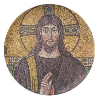 Jesus Christ with Holy Spirit Flame Mosaic Melamine Plate