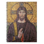 Jesus Christ with Holy Spirit Flame Mosaic Spiral Notebooks