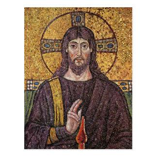 Jesus Christ with Holy Spirit Flame Mosaic Postcard