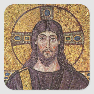 Jesus Christ with Holy Spirit Flame Mosaic Square Sticker